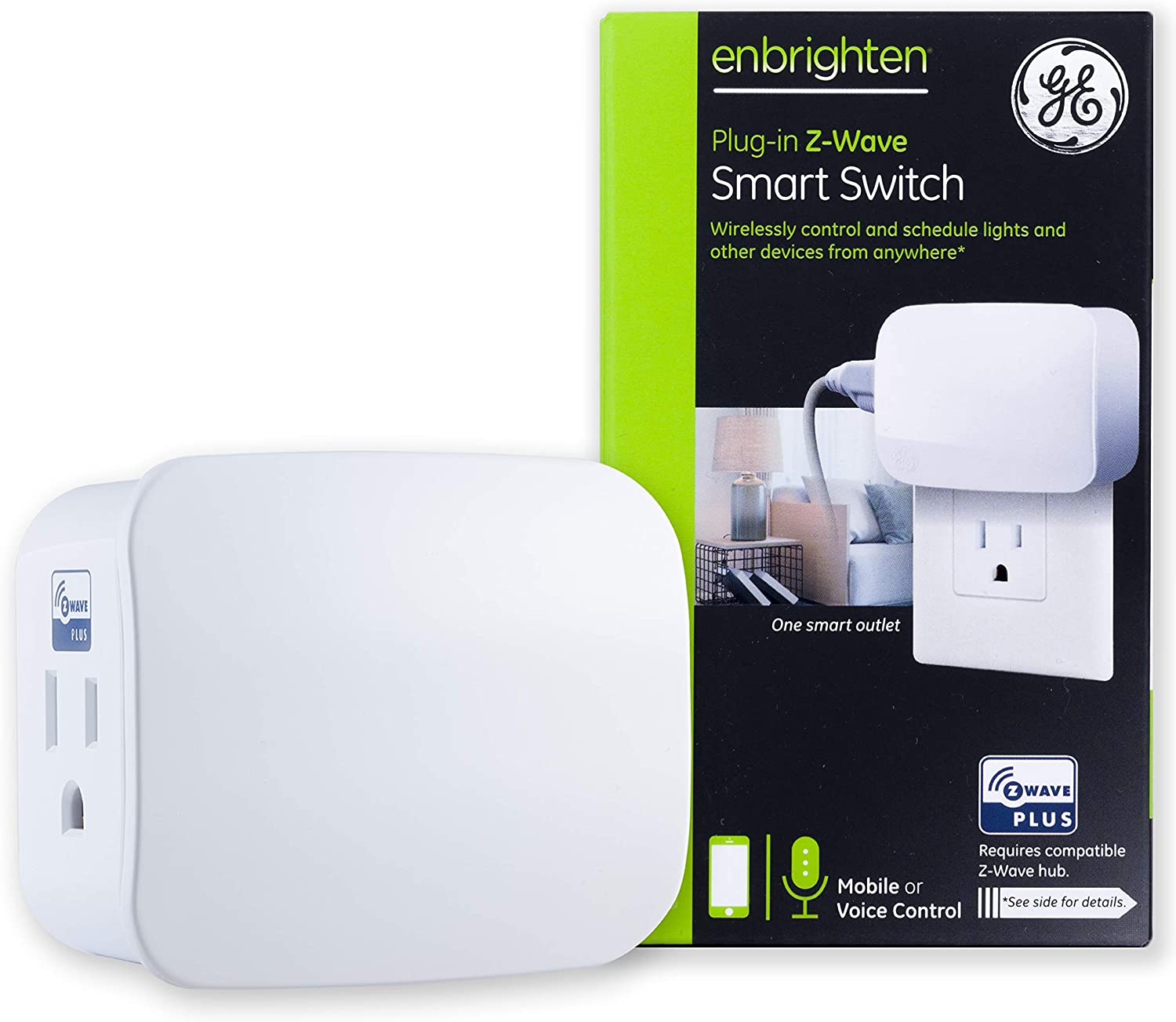 GE Enbrighten Z-Wave Plus Smart Switch On/Off 1-Outlet Plug-In Module - 28169