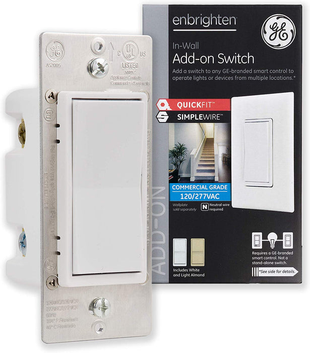 GE Enbrighten Add-On Switch With QuickFit And SimpleWire, Smart Lighting Control - 46199