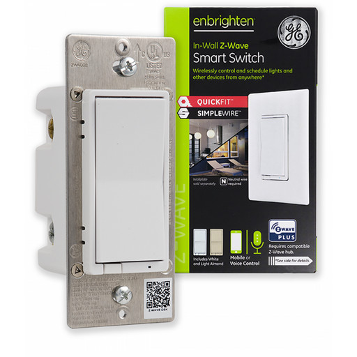 GE Enbrighten Z-Wave Plus In-Wall Smart Switch With QuickFit, Simple Wire, S2, and SmartStart - 46201