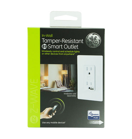 GE Z-Wave Plus In-Wall Smart Receptacle/Outlet - 14288