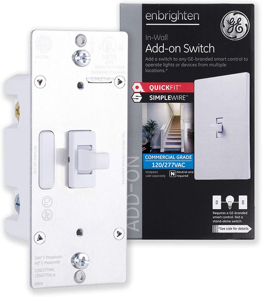 GE Enbrighten Add-On Toggle Switch With QuickFit And SimpleWire, Smart Lighting Control - 46200