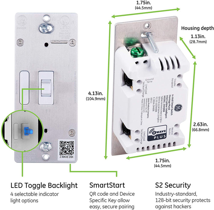 GE Enbrighten Z-Wave Plus Smart On/Off Toggle Switch With QuickFit, SimpleWire, S2, and SmartStart - 46202