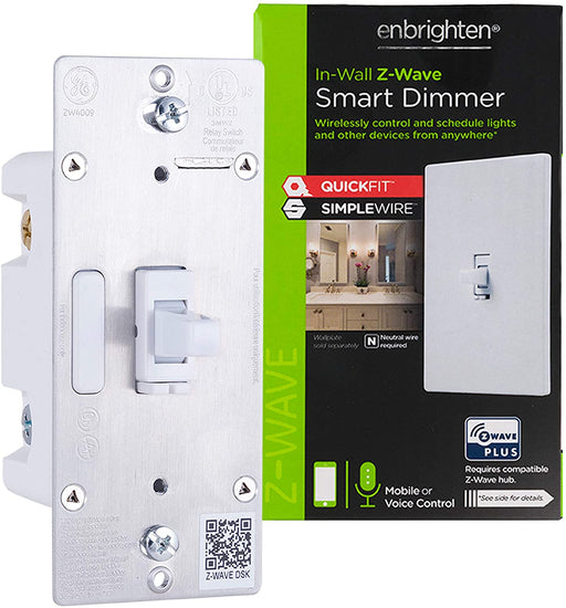 GE Enbrighten Z-Wave Plus Smart Toggle Dimmer With QuickFit, SimpleWire, S2, and SmartStart - 46204