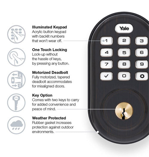 Yale Z-Wave Plus Pushbutton Keypad Deadbolt - Oil Rubbed Bronze - YRD216ZW20BP