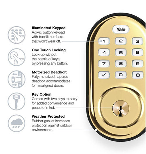 Yale Z-Wave Plus Pushbutton Keypad Deadbolt - Polished Brass - YRD216ZW2605