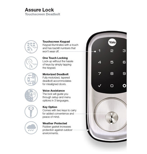 Yale Z-Wave Plus Assure Lock Touchscreen Keypad - Satin Nickel - YRD226ZW2619