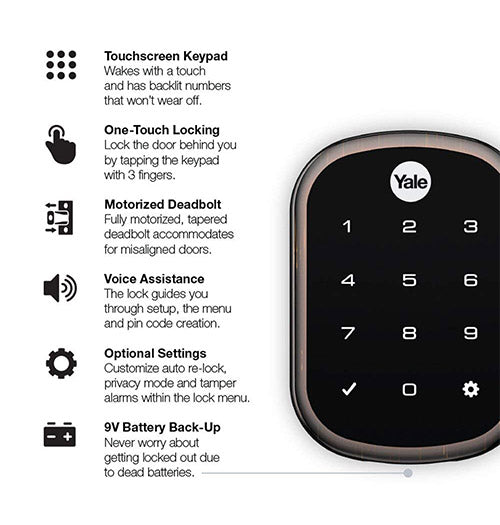 Yale Real Living Keyless Touchscreen Deadbolt - Oil Rubbed Bronze - YRD256-ZW2-0BP