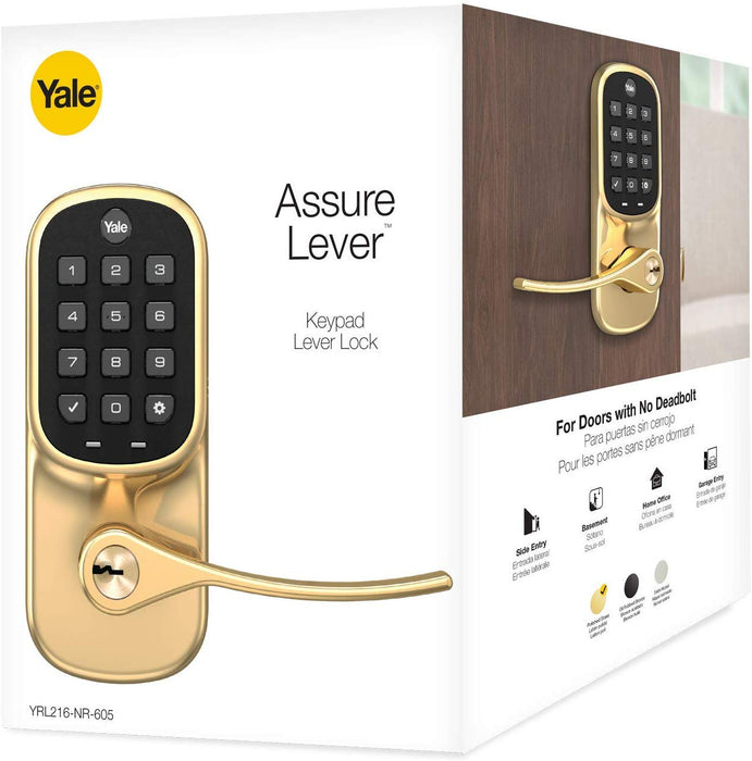 Yale Assure Z-Wave Plus Keypad Lever Lock with Key - YRL216-ZW2-605