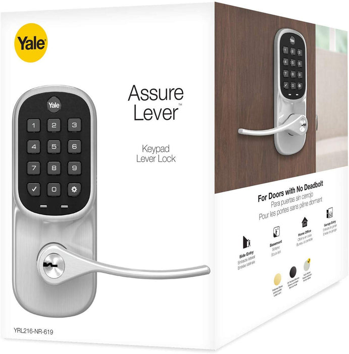 Yale Assure Z-Wave Plus Keypad Lever Lock with Key - YRL216-ZW2-619
