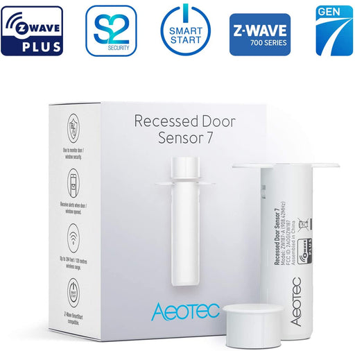 Aeotec Recessed Door Sensor 7, Z-Wave Plus 700 series, Battery Powered, Smart Start & S2 security - ZW187