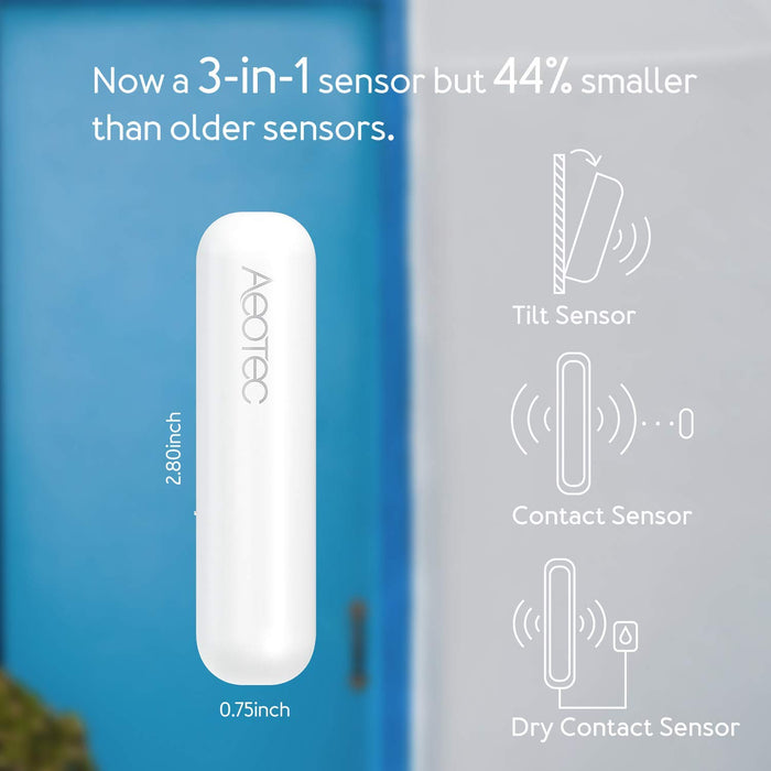 Aeotec Door/Window Sensor 7, Z-Wave Plus S2 Smart Start, 3-in-1 with Dry Contact & Tilt sensors - ZWA008