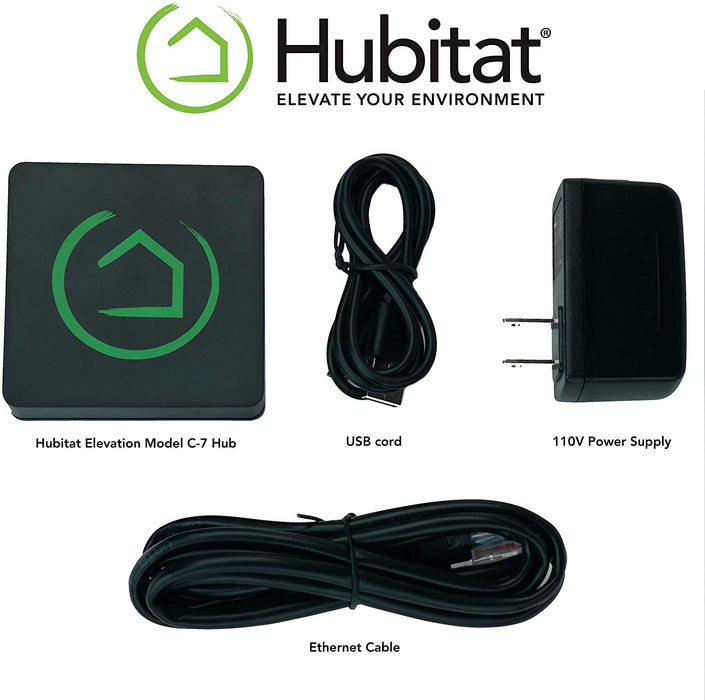 Hubitat Elevation Model C-7 Hub, S2 Security & Smart Start, Z-Wave Plus 700 series with GoControl Glass Break Detectors