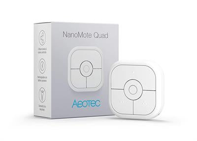 Aeotec NanoMote Quad, Z-Wave Plus S2 remote control, 8 scenes, Rechargeable – ZWA003