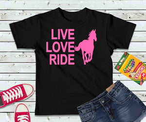 Live Love Ride T-Shirt, Girls Shirt, Kids Shirt - Lake Erie Goods