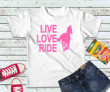 Load image into Gallery viewer, Live Love Ride T-Shirt, Girls Shirt, Kids Shirt - Lake Erie Goods