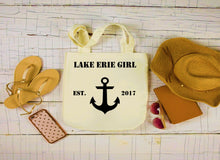 Load image into Gallery viewer, Lake Erie Girl Canvas Bag, Large Tote Bag, Anchor Canvas Tote
