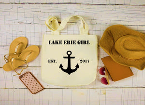 Lake Erie Girl Canvas Bag, Large Tote Bag, Anchor Canvas Tote
