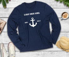 Load image into Gallery viewer, Lake Erie Girl Long Sleeve Shirt, Lake Erie Anchor Shirt, Lake Shirt