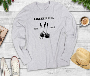Lake Erie Girl Long Sleeve Shirt, Lake Erie Cattails Shirt, Lake Shirt