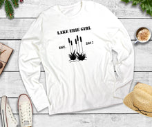 Load image into Gallery viewer, Lake Erie Girl Long Sleeve Shirt, Lake Erie Cattails Shirt, Lake Shirt