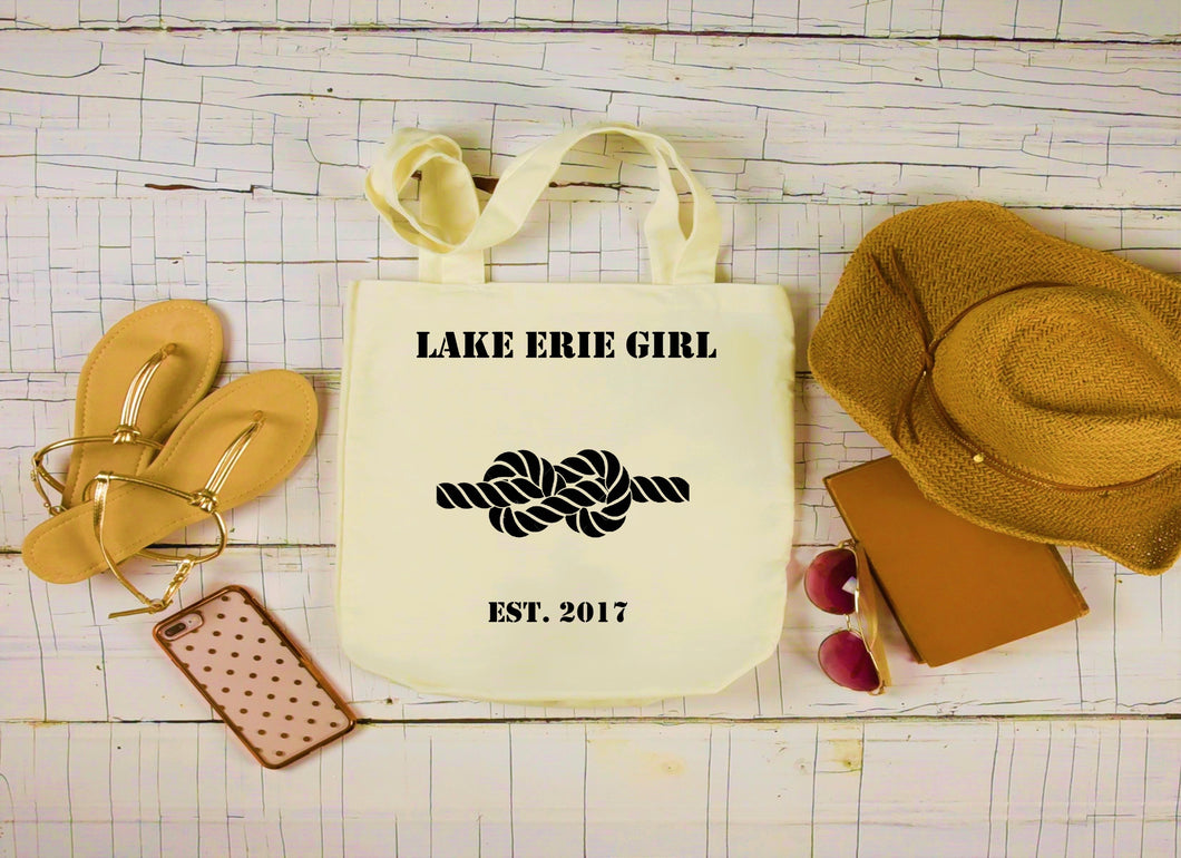Lake Erie Girl Canvas Bag, Large Tote Bag, Nautical Knot Canvas Tote
