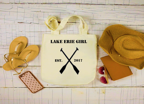 Lake Erie Girl Canvas Bag, Large Tote Bag, Oars Canvas Tote