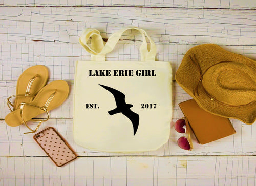 Lake Erie Girl Canvas Bag, Large Tote Bag, Seagull Canvas Tote