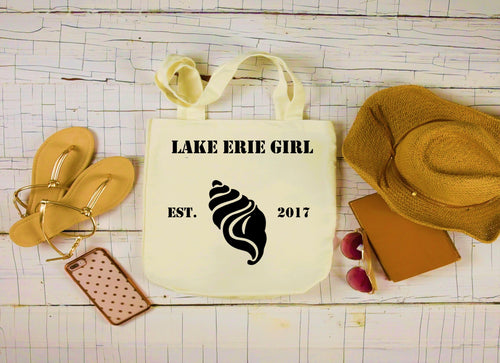 Lake Erie Girl Canvas Bag, Large Tote Bag, Seashell Canvas Tote