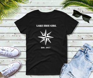 Lake Erie Girl T-Shirt, Lake Erie Nautical Star Shirt, Lake Shirt