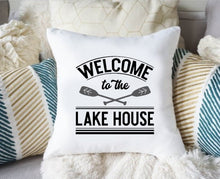 Load image into Gallery viewer, Lake Pillow Cover, Lake Life Pillow Cover, Welcome to the Lake House Oars Pillow Cover