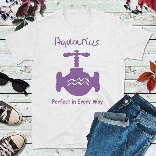Aquarius T-Shirt, Star Sign Symbols, Astrology Sign T-Shirt, Perfect in Every Way - Lake Erie Goods