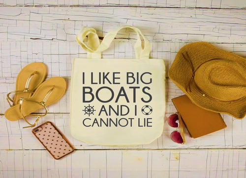 Canvas Boat Bag, Large Tote Bag, I Like Big Boats and I Cannot Lie Canvas Bag