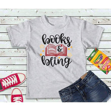 Load image into Gallery viewer, Books and Bling, Girls Shirt, Back to School Kids Shirt