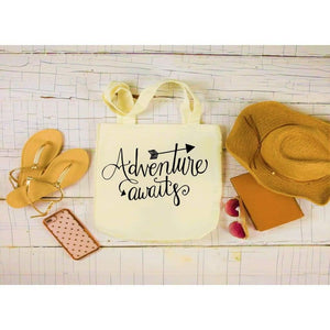 Canvas Tote Bags, Large Tote Bag, Adventure Awaits Bag