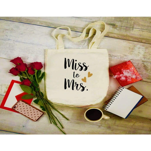 Canvas Tote Bags, Wedding Totes, Miss to Mrs.