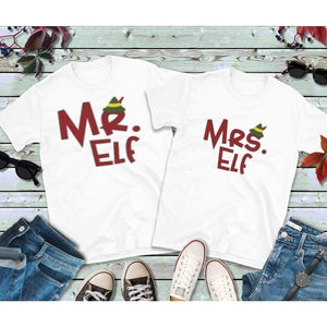 Christmas Couples Shirts, Mr. & Mrs. Elf Shirts, Matching T-Shirts