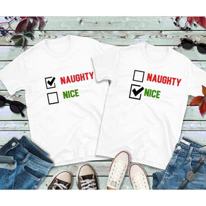 Christmas Couples Shirts, Naughty & Nice Shirts, Matching T-Shirts