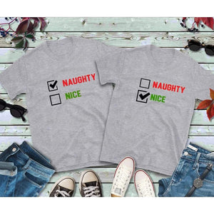 Christmas Couples Shirts Naughty & Nice Shirts Matching