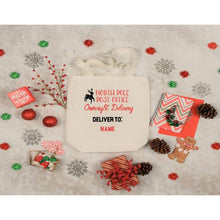 Load image into Gallery viewer, Christmas Canvas Tote Bags, North Pole Post Office, Large Tote Bag