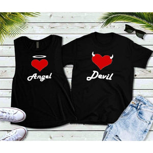 Couples Shirts, Youth Matching Shirts, Angel and Devil Shirts