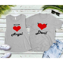 Load image into Gallery viewer, Couples Shirts, Youth Matching Shirts, Angel and Devil Shirts