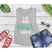 Load image into Gallery viewer, Eat Sleep Beach Repeat, Beach Life T-Shirt, Beach Wear, Vacation Shirt