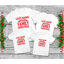 Load image into Gallery viewer, Family Christmas T-Shirts, Last Name & Year, Family Christmas Shirts