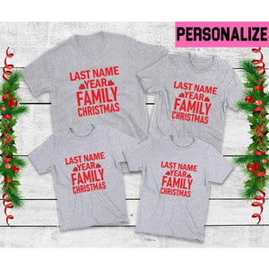 Family Christmas T-Shirts, Last Name & Year, Family Christmas Shirts