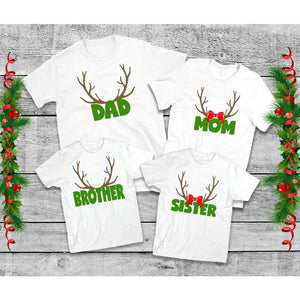Family Reindeer Antler Shirts, Family Christmas Shirts