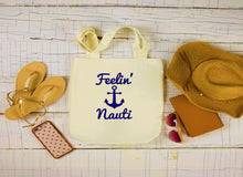 Load image into Gallery viewer, Canvas Boat Bag, Large Tote Bag, Feelin' Nauti Boating Bag