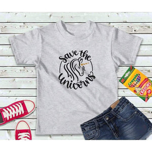 Girls Shirt Kids Shirt Save the Unicorns Shirt