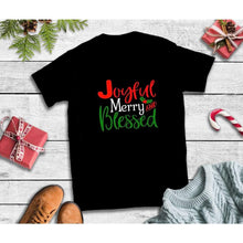 Load image into Gallery viewer, Joyful Merry Blessed Shirt Christmas Shirt Holiday T-Shirt