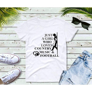 Just a Girl Who Loves Country Music and Football Shirt