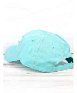 Lake Hat, Distressed Mint Blue, Life Is Better At The Lake Cap